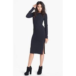 Leith Black Long Sleeve Midi Bodycon Dress M EUC